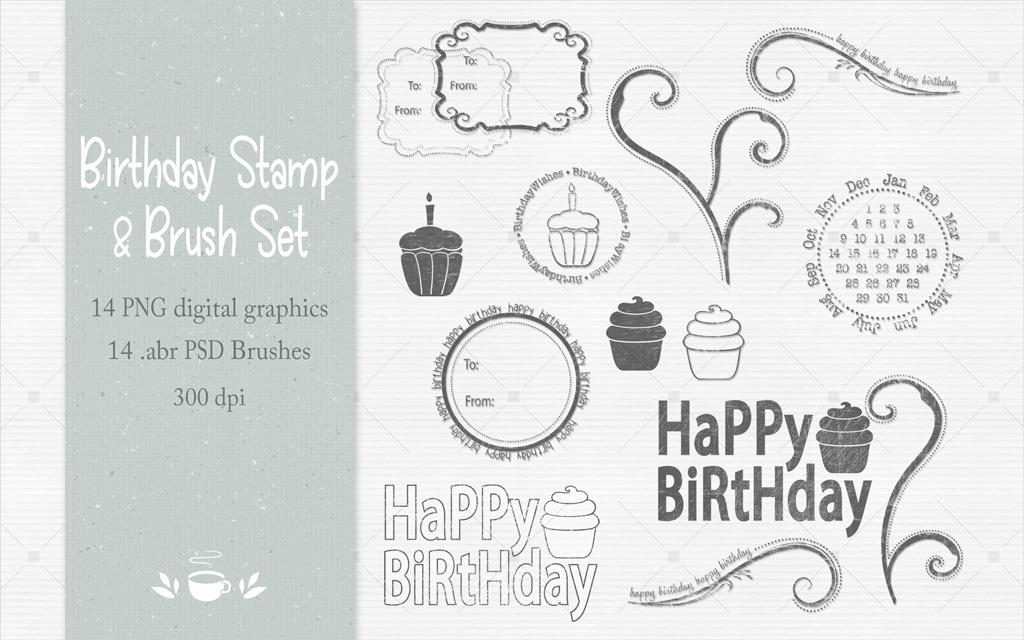 Birthday Stamp & Brush Set