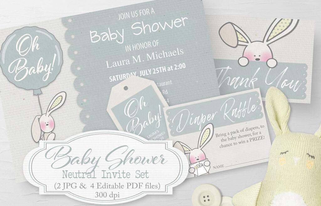 Baby Shower Neutral Invite Set